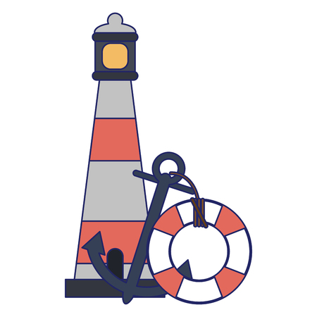Travel and tourism lighthouse lifesaver float and anchor vector illustration graphic design