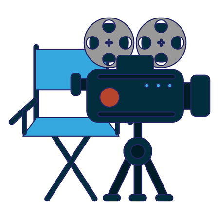 Cinema and movies directors chair and professiona camera vector illustration graphic design