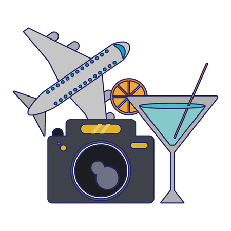 Travel and tourism camera and airplane with cocktail vector illustration graphic design Vectores