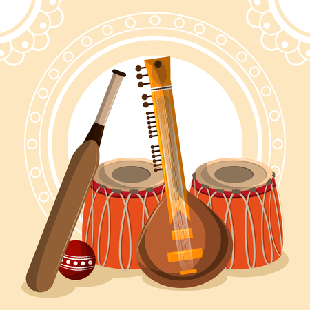 India culture and travel drums guitar and cricket bat vector illustration graphic design Çizim