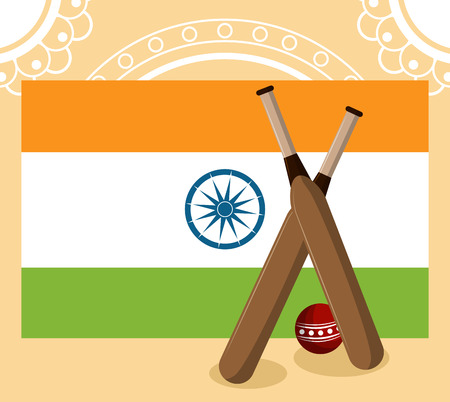 India cricket sport and flag vector illustration graphic design