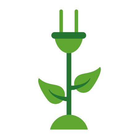Eco green energy flower symbol vector illustration graphic design