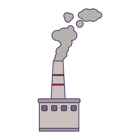 Factory industry with smoking pollution vector illustration graphic design