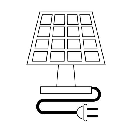solar panel with plug and shuffle vector illustration graphic design