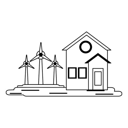 house with wind turbines symbol vector illustration graphic design Illusztráció