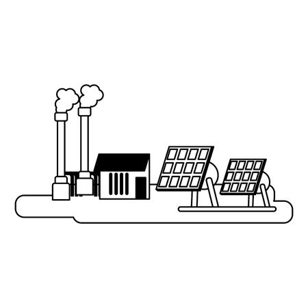 Solar panels electric plant building vector illustration graphic design