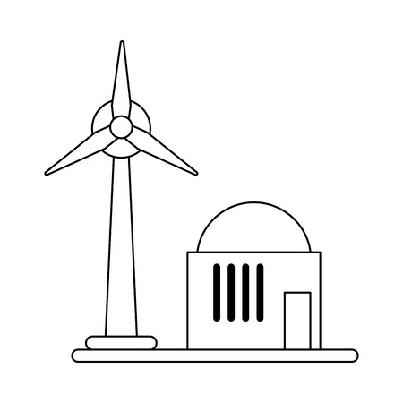 Wind turbine eolic energy symbol vector illustration graphic design