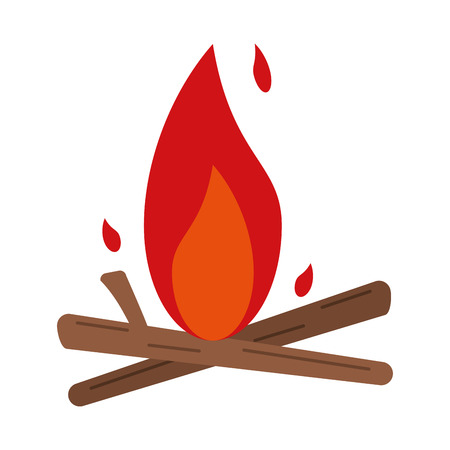 bonfire with woods isolated vector illustration graphic design Çizim