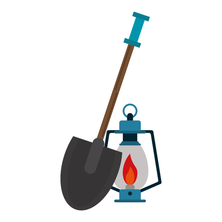 Camping lifestyle equipment shovel and bonfire lantern vector illustration graphic design