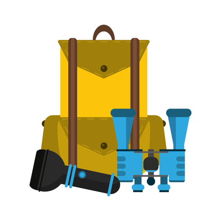 Camping lifestyle equipment backpack binocular and lantern vector illustration graphic design