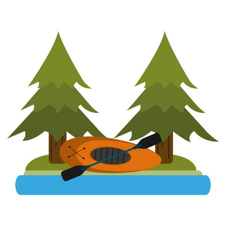 Camping lifestyle boat and river in nature vector illustration graphic design