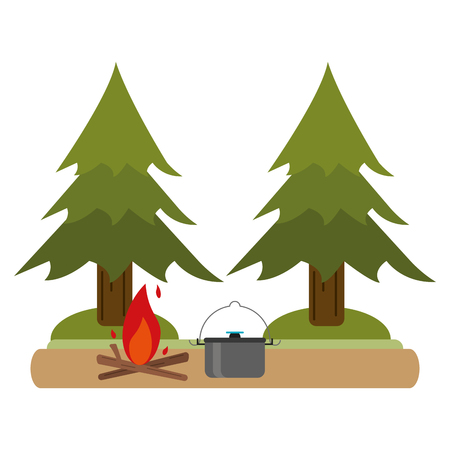Camping lifestyle bonfire and pot in nature vector illustration graphic design