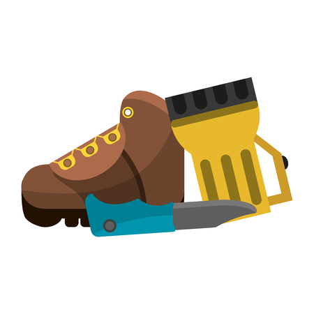 Camping lifestyle boot lantern and knife vector illustration graphic design Ilustrace
