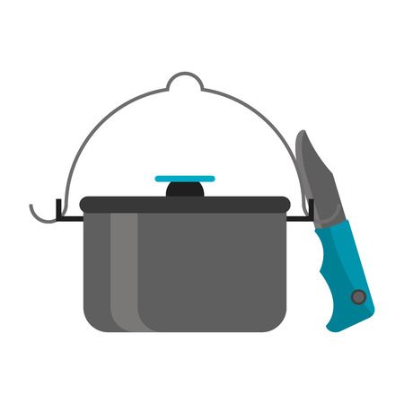 Camping lifestyle equipment pot and knife vector illustration graphic design Ilustrace