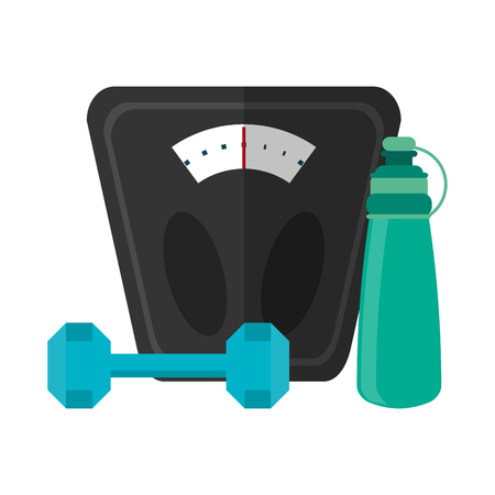 Fitness and gym equipment thermo fat body scale and dumbbell vector illustration graphic design