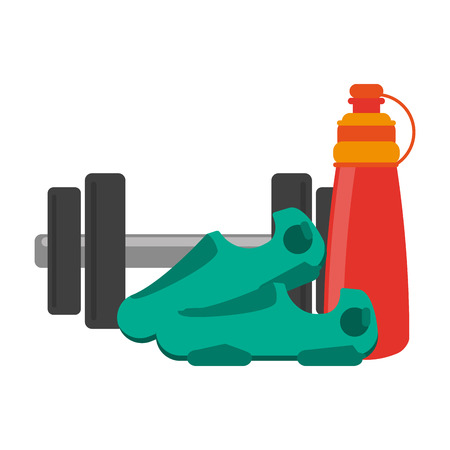 Fitness and gym equipment dumbells thermo and boots vector illustration graphic design Ilustrace