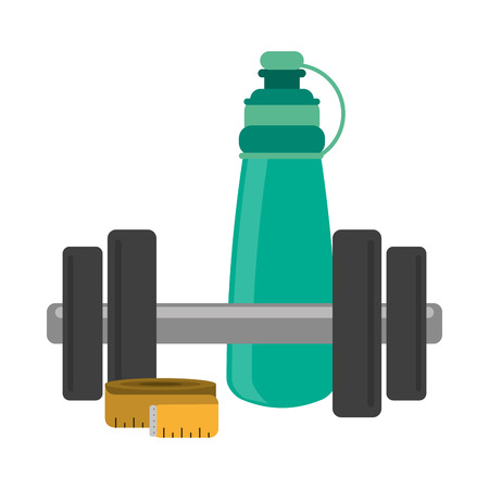 Fitness and gym equipment dumbbell thermo bottle and measurement vector illustration graphic design