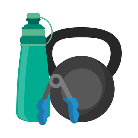 Fitness and gym equipment kettlebell thermo and handgrip vector illustration graphic design Ilustrace