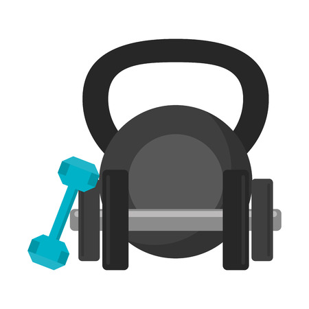 Fitness and gym equipment dumbbells and kettlebell vector illustration graphic design Reklamní fotografie - 125336456