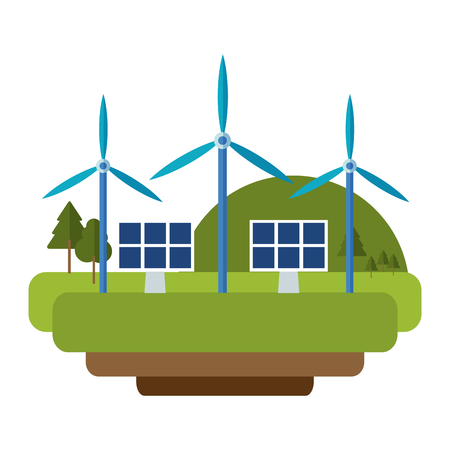 Wind turbines and solar panels green in nature vector illustration graphic design