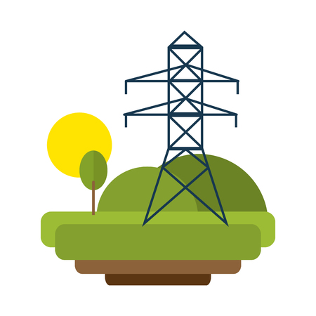 electric tower energy in nature scenery vector illustration graphic design Illusztráció