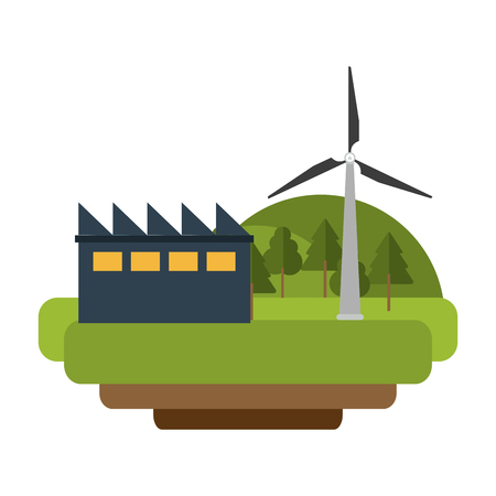 factory and wind turbines eolic green energy vector illustration graphic design