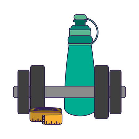 Fitness and gym equipment dumbbell thermo bottle and measurement vector illustration graphic design Reklamní fotografie - 125336487