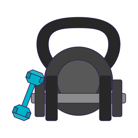 Fitness and gym equipment dumbbells and kettlebell vector illustration graphic design