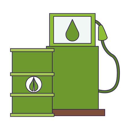 Eco green fuel barrels and dispenser vector illustration graphic design