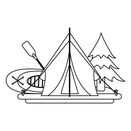 Camping lifestyle equipment tent and boat vector illustration graphic design