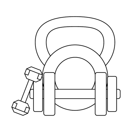 Fitness and gym equipment dumbbells and kettlebell vector illustration graphic design Reklamní fotografie - 125336521