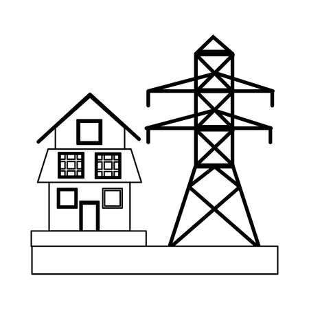 Eco house with green energy solar panels vector illustration graphic design