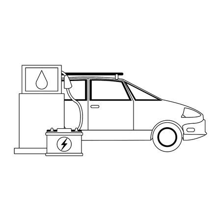Electric car and electric battery green energy vector illustration graphic design Illusztráció