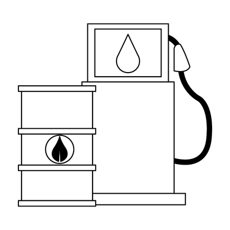 Eco green fuel barrels and dispenser vector illustration graphic design