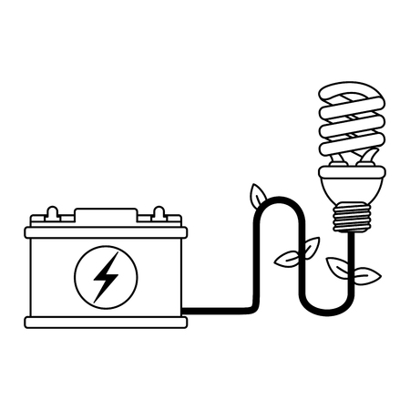 Ecology green energy battery and spiral bulb light vector illustration graphic design
