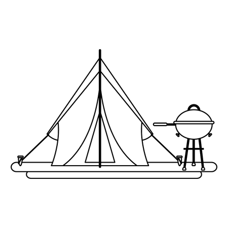 Camping lifestyle equipment tent and bbq grill vector illustration graphic design