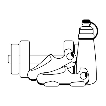 Fitness and gym equipment dumbells thermo and boots vector illustration graphic design Illustration