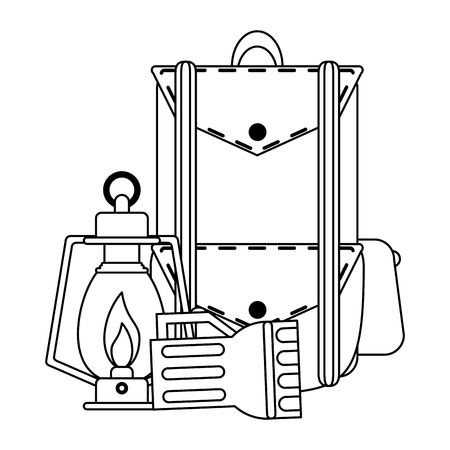Camping lifestyle equipment backpack bonfire lantern vector illustration graphic design