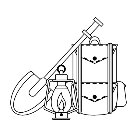Camping lifestyle backpack bonfire lantern and shovel vector illustration graphic design