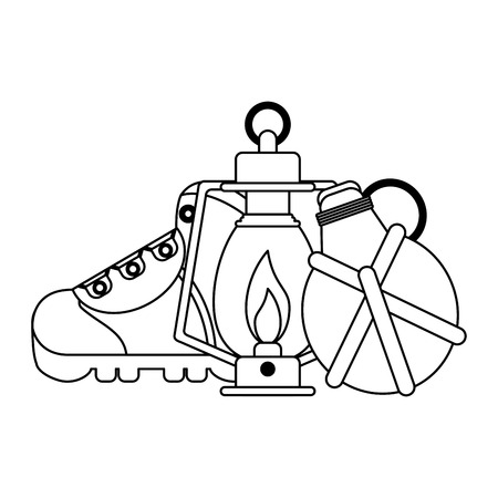 Camping lifestyle equipment boot and bonfire with bottle vector illustration graphic design