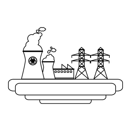 Nuclear plant industrial energy scenery vector illustration graphic design