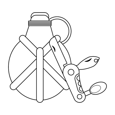 Camping lifestyle equipment bottle and multifuncional knife vector illustration graphic design