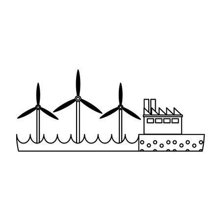 Factory and Wind turbines green eolic energy vector illustration graphic design Illusztráció