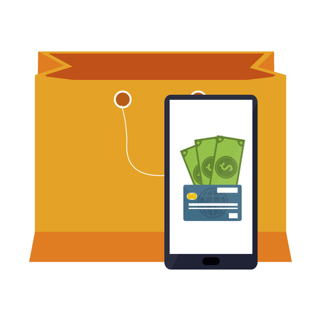 online shopping smartphone payment and bag vector illustration graphic design