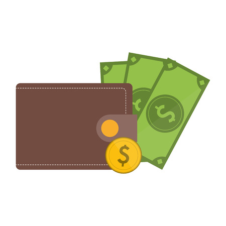 wallet with coin and cash symbol vector illustration graphic design Illustration