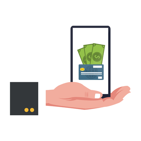 smartphone money payment with credit card vector illustration graphic design