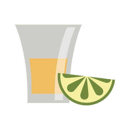 Tequila shot with lemon mexican drink vector illustration graphic design