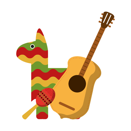 pinata maraca and guitar mexican symbol vector illustration graphic design Illustration
