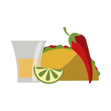 Mexican taco with lemon tequila shot and chilli food vector illustration graphic design