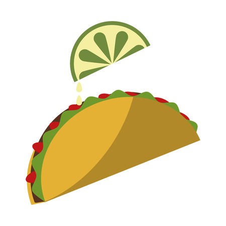 Mexican taco with lemon food vector illustration graphic design